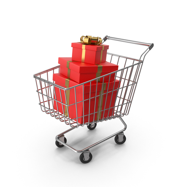 Shopping Cart with Red Gift Boxes PNG & PSD Images