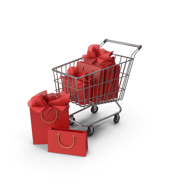 Shopping Cart with Red Packaging Bags PNG & PSD Images