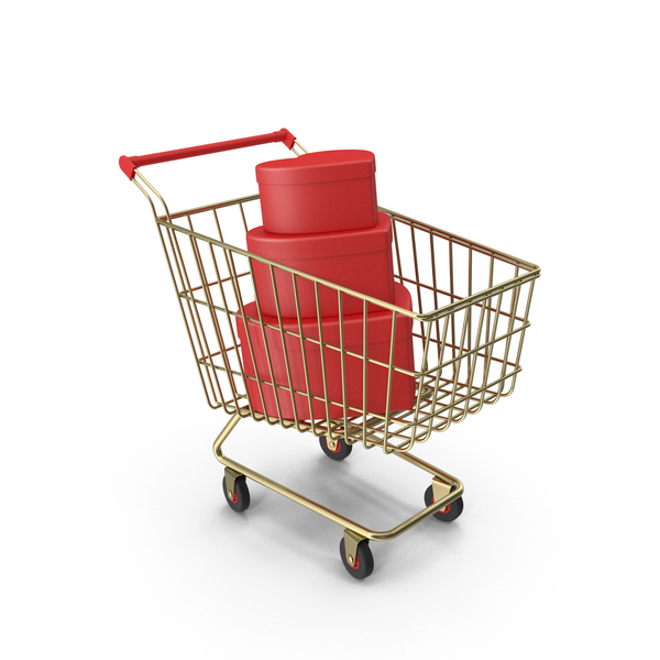 Shopping Cart with Valentines Gift Boxes PNG & PSD Images