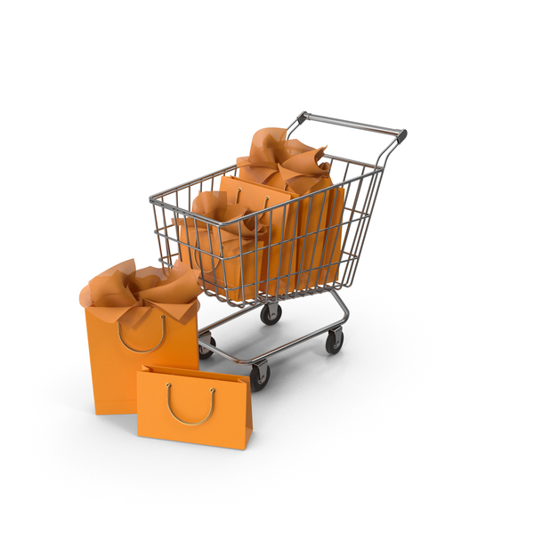 Shopping Cart with White Packaging Bags PNG & PSD Images