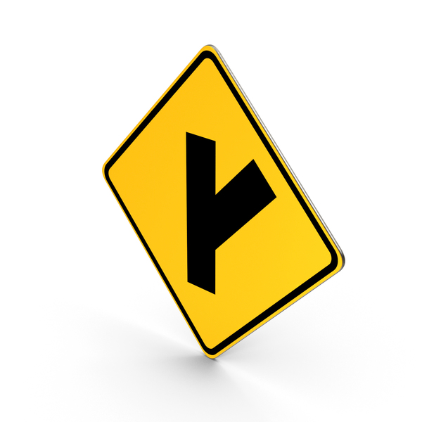 Traffic Signs: Side Road At An Acute Angle Road Sign PNG & PSD Images
