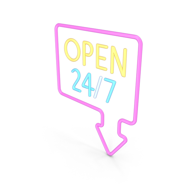 Sign Neon Open 24/7 PNG & PSD Images