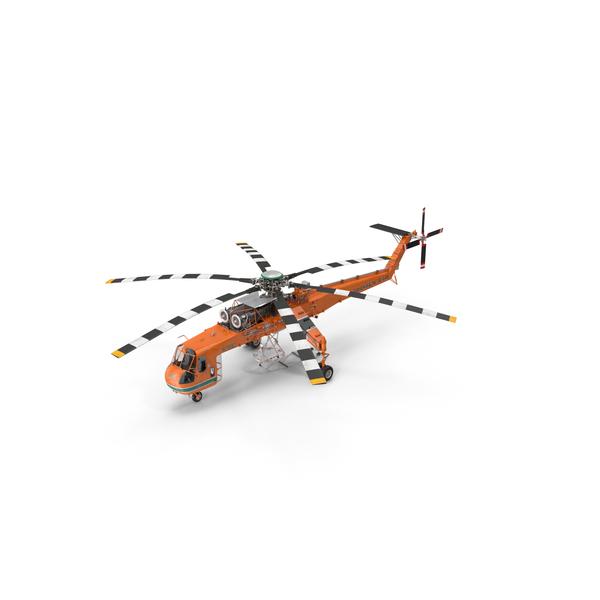 Sikorsky S-64 Skycrane Helicopter Cargo Orange PNG & PSD Images