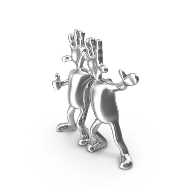 Silver Abstract Figurine Friends PNG & PSD Images