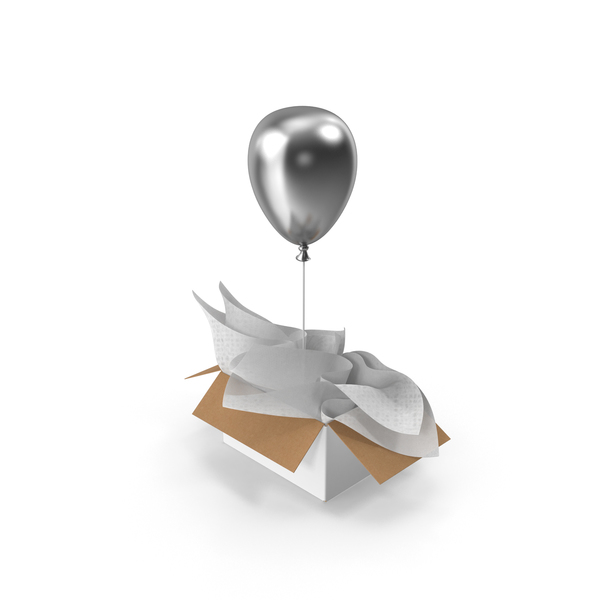 Silver Balloon Gift Box PNG & PSD Images
