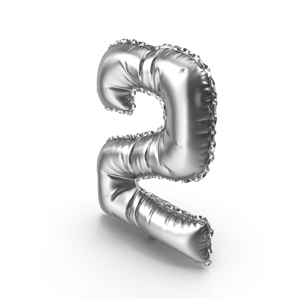 Silver Balloon Number 2 PNG & PSD Images