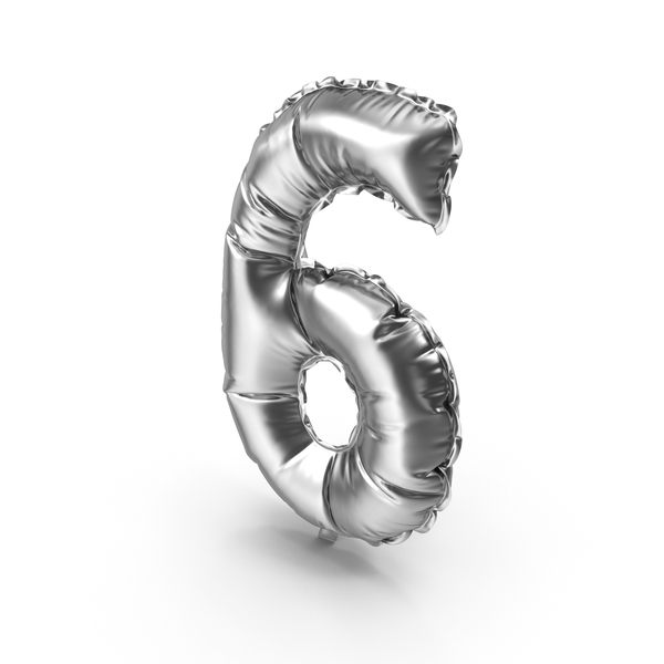 Silver Balloon Number 6 PNG & PSD Images