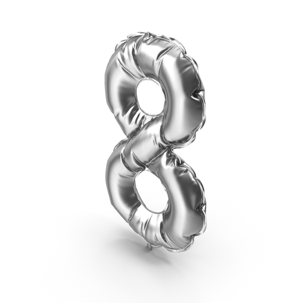 Silver Balloon Number 8 PNG & PSD Images