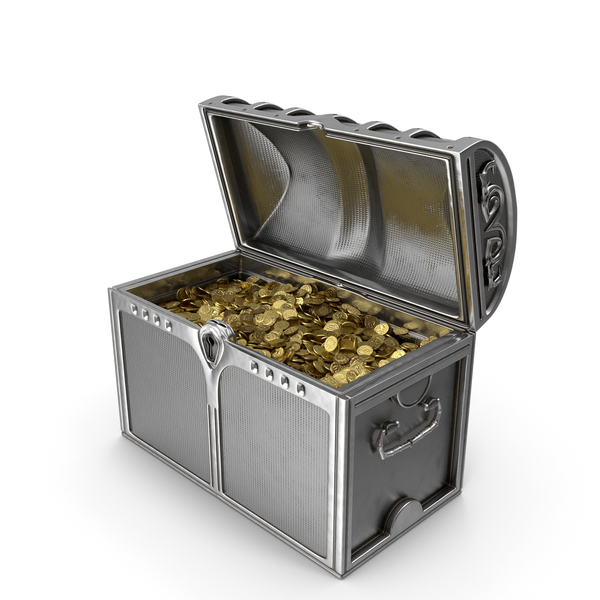 Silver Chest With Gold Coins PNG & PSD Images