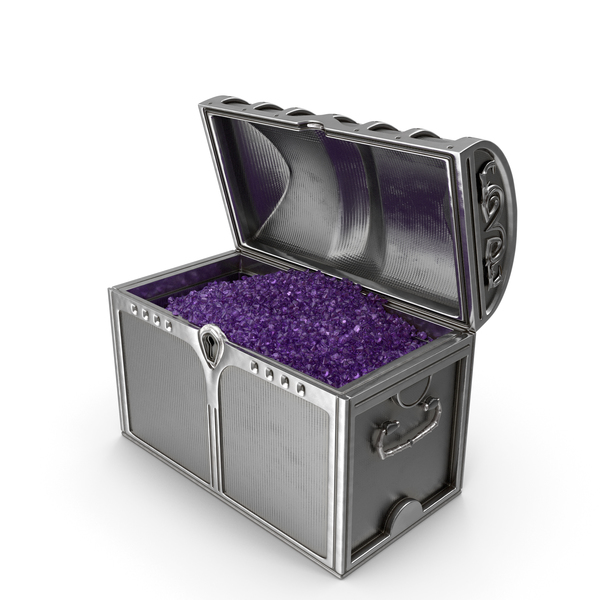 Silver Chest With Tiny Amethyst Gems PNG & PSD Images