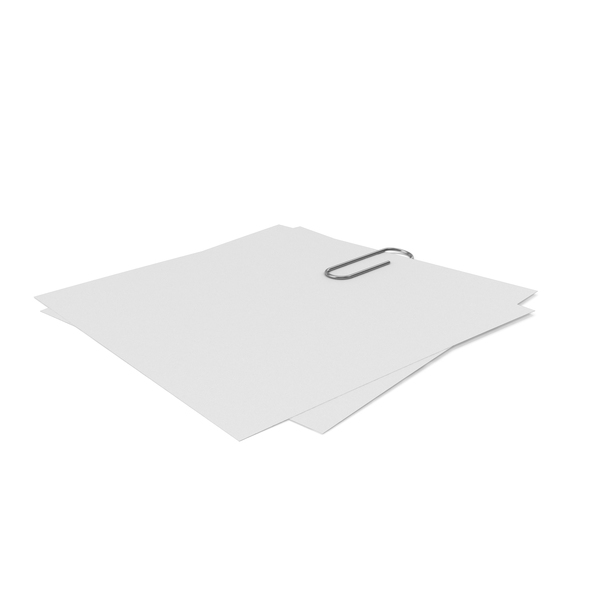 Sticky Note: Silver Clip with Papers PNG & PSD Images