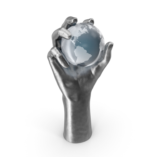 Globe Shape: Silver Hand Holding a Crystal Earth PNG & PSD Images