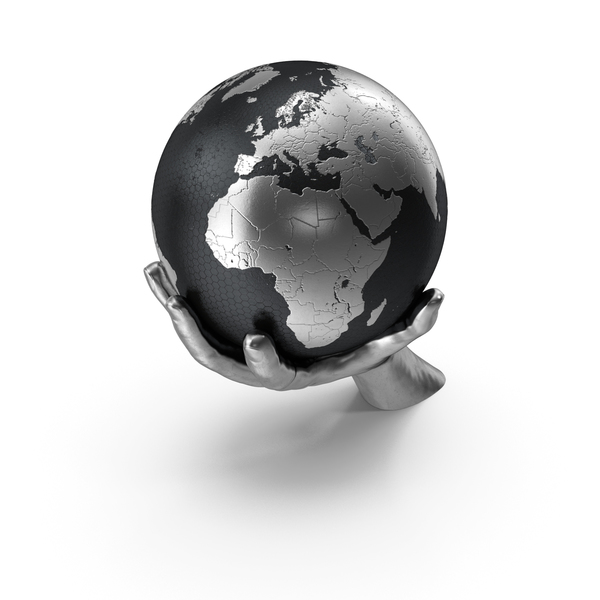 Silver Hand Holding a Silver Earth PNG & PSD Images