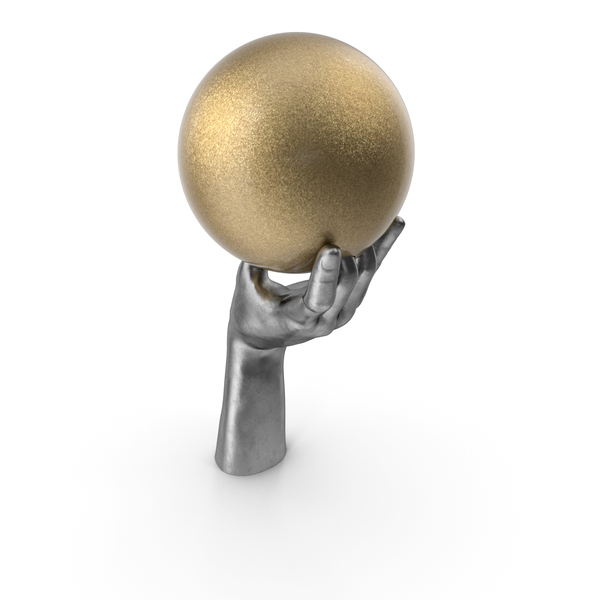 Silver Hand Holding a Golden Bowling Ball PNG & PSD Images