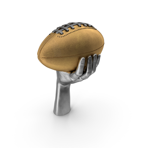 Silver Hand Holding a Golden Football Ball PNG & PSD Images