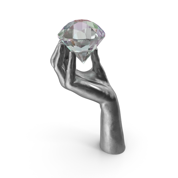 Silver Hand Holding a Large Diamond PNG & PSD Images