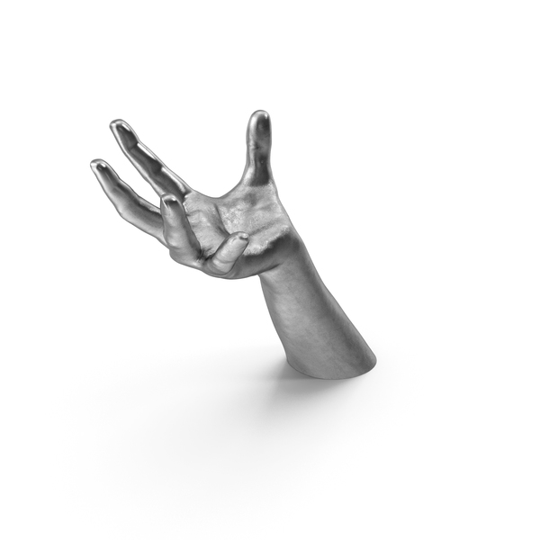 Silver Hand Large Sphere Object Hold Pose PNG & PSD Images