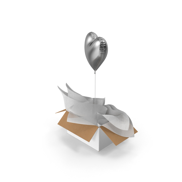 Silver Heart Balloon Surprise Box PNG & PSD Images