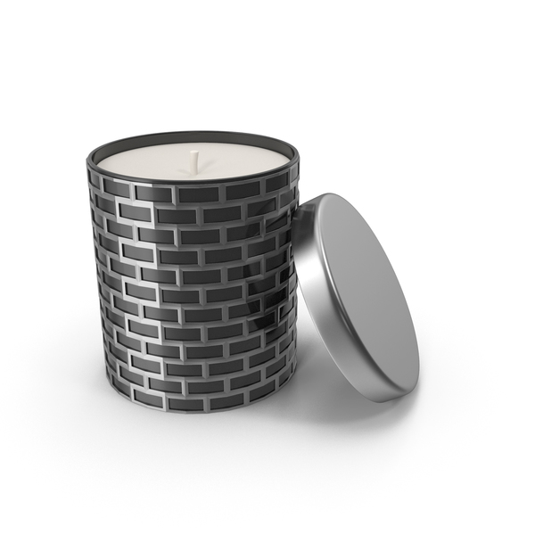 Silver Holiday Candle with Cap PNG & PSD Images