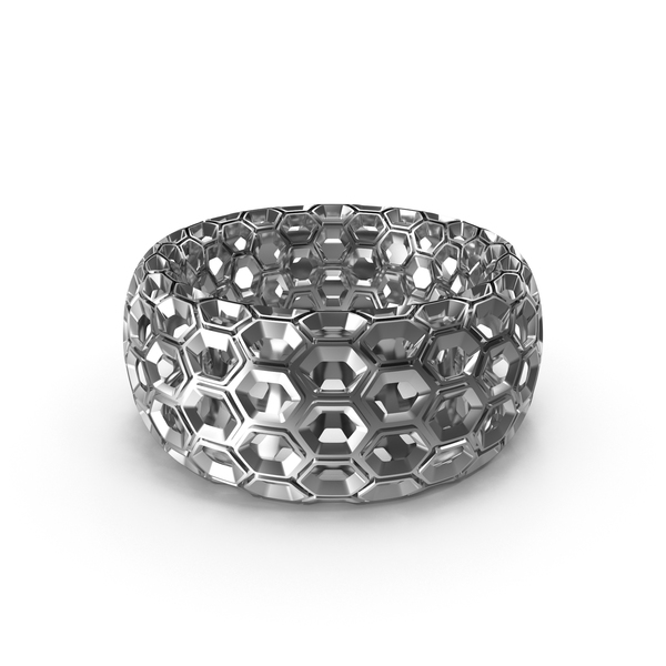 Silver Honeycomb Toroid Ring PNG & PSD Images