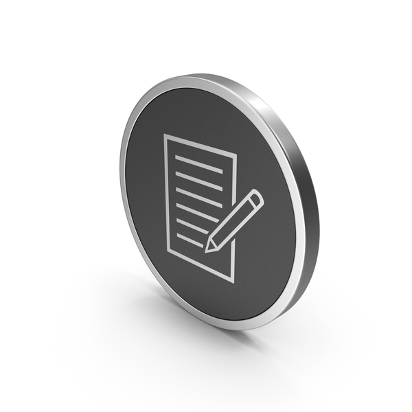 Industrial Equipment: Silver Icon Document With Pen PNG & PSD Images