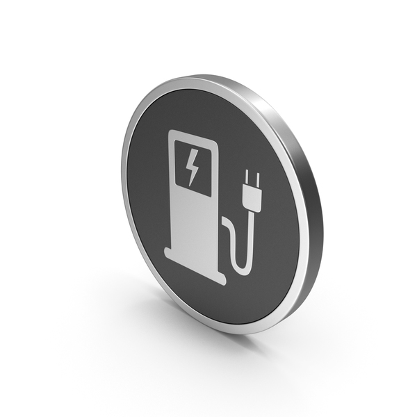 Logo: Silver Icon Electric Vehicle Charging Station PNG & PSD Images