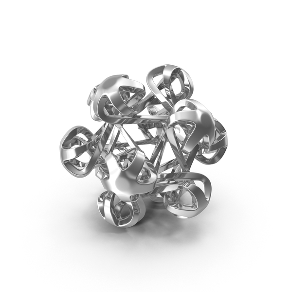 Geometric Shape: Silver Icosahedral Bloom PNG & PSD Images