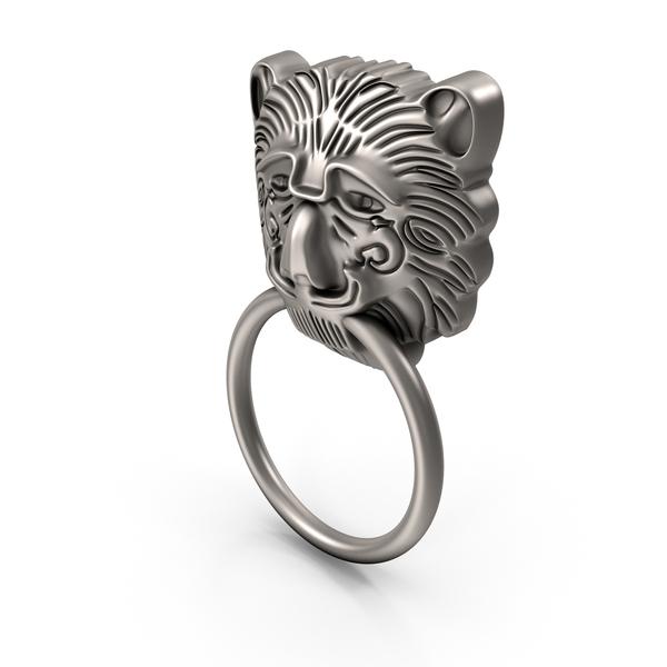 Door Knocker: Silver Lion Head Handle PNG & PSD Images