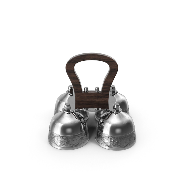 Silver Liturgical Altar Bell with Wood Handle PNG & PSD Images