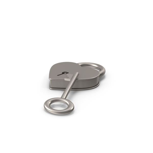 Silver Metal Heart Shaped Padlock and Key PNG & PSD Images