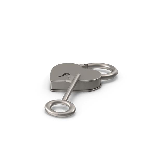 Lock: Silver Metal Heart Shaped Padlock and Key PNG & PSD Images