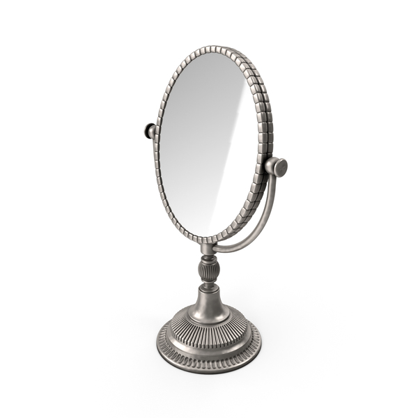 Beauty Appliance: Silver Oval Table Mirror PNG & PSD Images