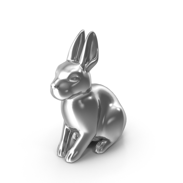 Silver Rabbit Figurine PNG & PSD Images