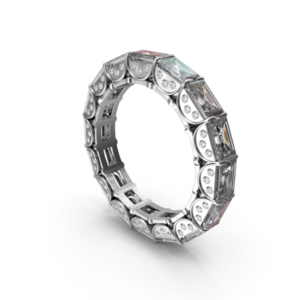 Silver Ring with Crystal Diamonds PNG & PSD Images
