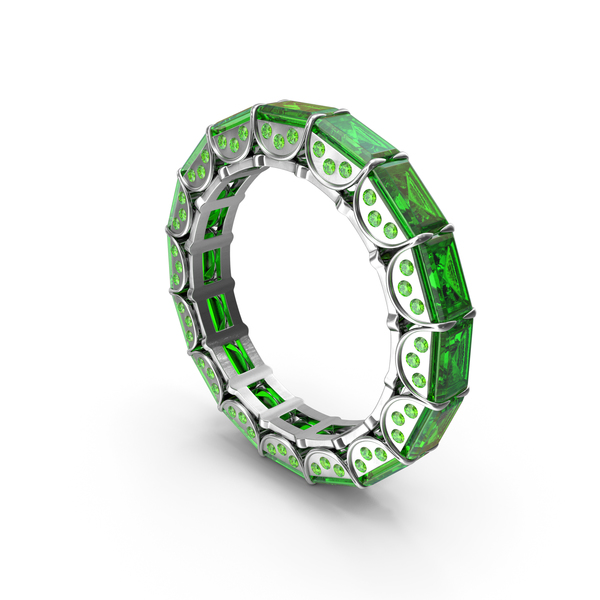 Silver Ring with Emeralds PNG & PSD Images
