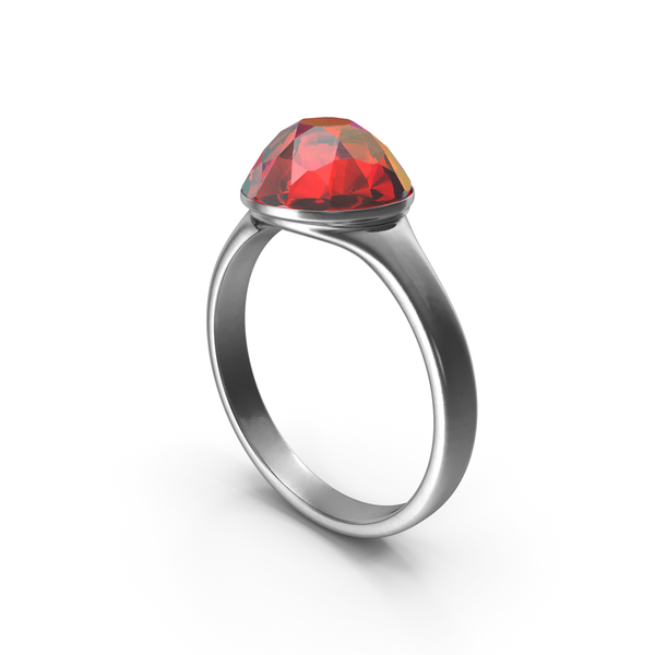 Silver Ring with Large Ruby Diamond PNG & PSD Images
