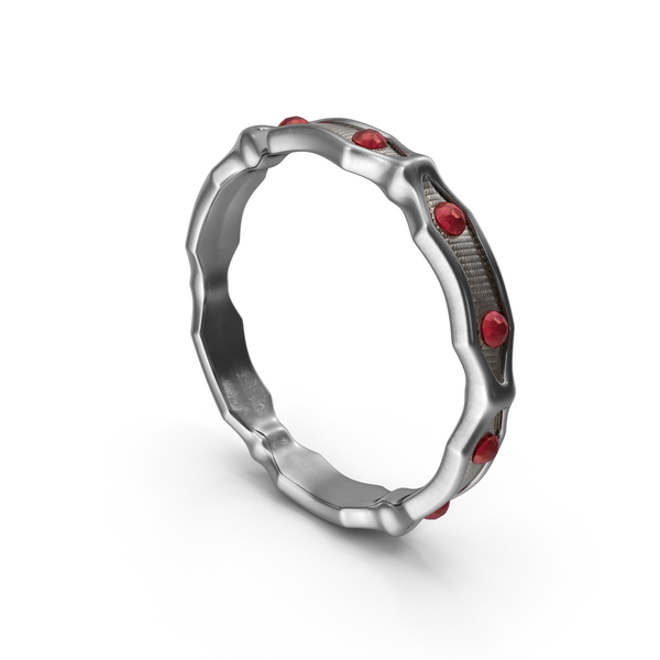Silver Ring with small Rubies PNG & PSD Images