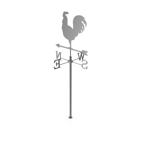 Silver Rooster Chicken Metal Weathervane PNG & PSD Images