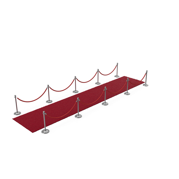 Silver Rope Barriers with Red Carpet Runners PNG & PSD Images