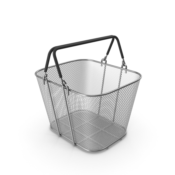 Silver Shopping Wire Mesh Basket with Handles PNG & PSD Images