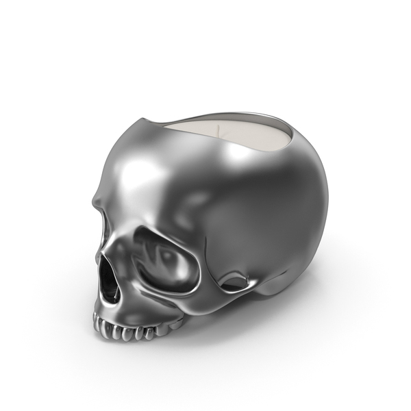 Halloween Decoration: Silver Skull Head Candle PNG & PSD Images
