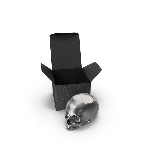 Silver Skull Head Candle with Box PNG & PSD Images
