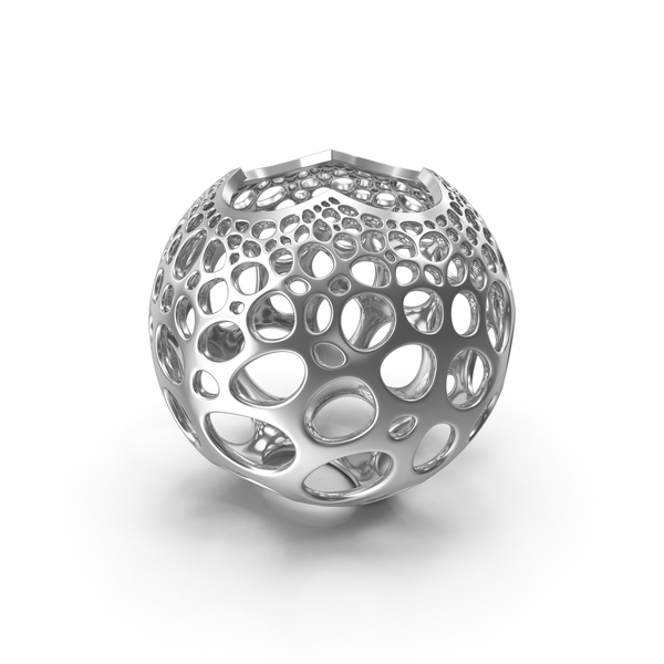 Silver Stereographic Voronoi Sphere PNG & PSD Images