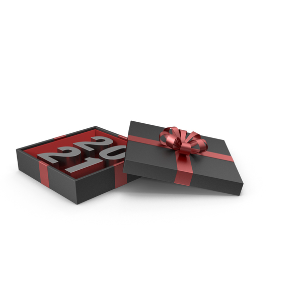 Silver Symbol 2021 in Black Gift Box with Red Ribbon PNG & PSD Images