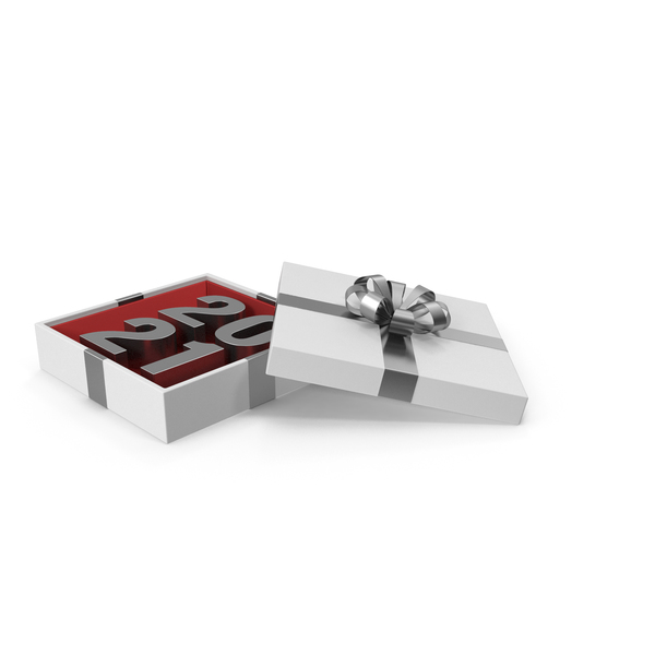 Silver Symbol 2021 in White Gift Box with Silver Ribbon PNG & PSD Images