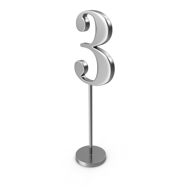 Silver Table Number 3 PNG & PSD Images