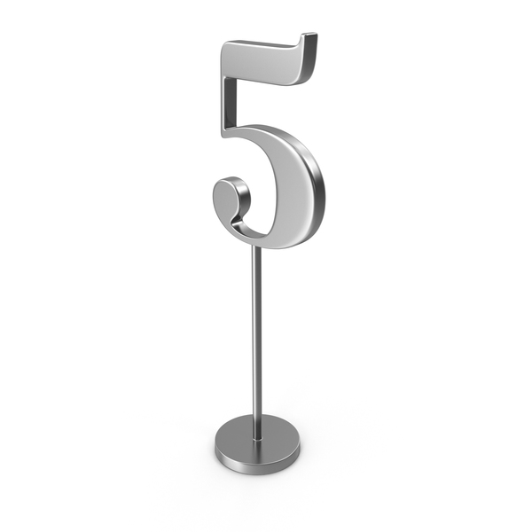 Silver Table Number 5 PNG & PSD Images