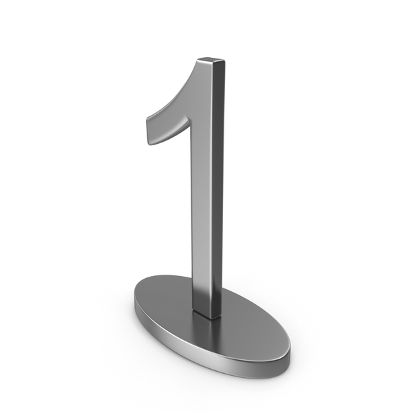 Number: Silver Table Numbers Sign 1 PNG & PSD Images