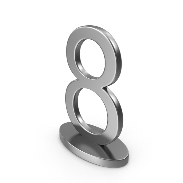 Number: Silver Table Numbers Sign 8 PNG & PSD Images
