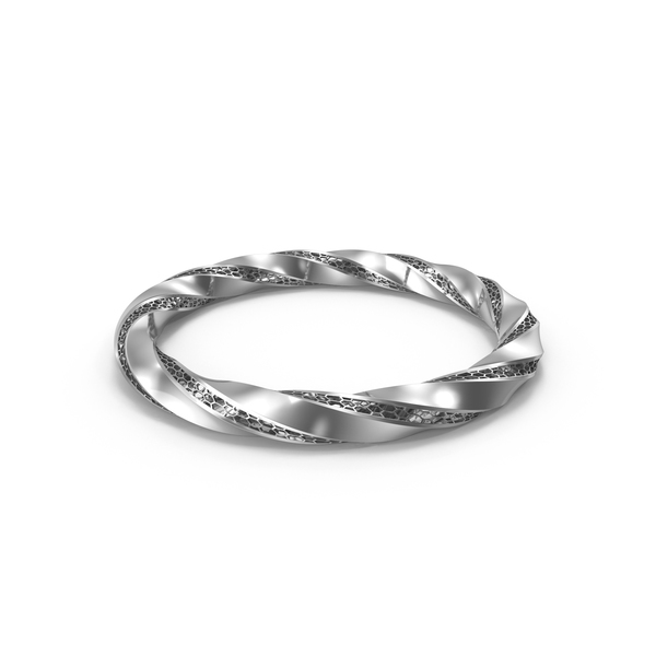 Silver Triply Twisted Torus With Holes PNG & PSD Images